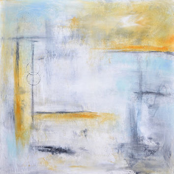 Painting original abstract square 36x36 large painting blue white yellow acrylic painting abstract modern art by L.Beiboer