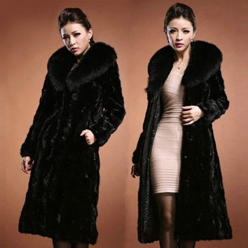 New Fashion Winter Warm Womens Luxury Faux Mink Fur Long Coat Jacket Outwear fox Fur Turn-down Collar Coats Women = 1956218116