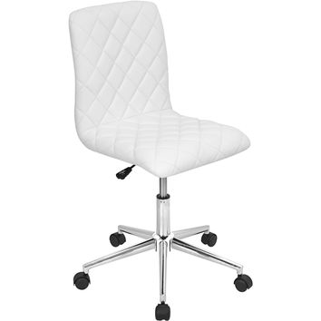 Caviar Height Adjustable Swivel Office Chair, White