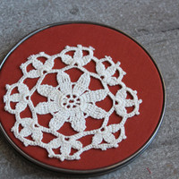 Vintage Embroidery Hoop Lace Doily Thanksging Chic Decor