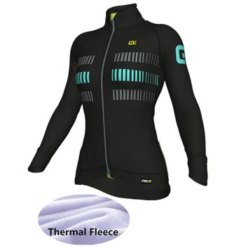 2018 Winter Thermal Fleece Cycling Jersey Ropa Ciclismo Mtb Long Sleeve Women Bike Wear ALE Clothing Maillot -BN787