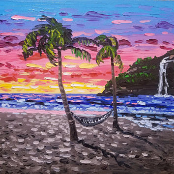 "Original Palette Knife Painting by Ryan Kimba 20"" Seascape Art, Oil Painting on Canvas, Beach Theme, Abstract, Hammock in Sunset"