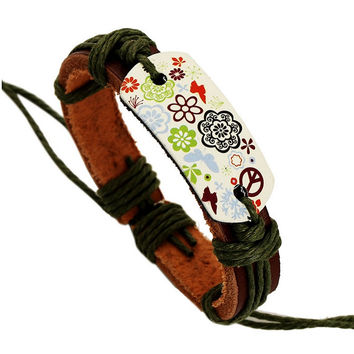 New Fashion Hippie 60's retro Leather Bracelet Handcraft Hand Made Manual Jewelry For Women & Girls  Flower Print Rope Cord