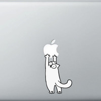 Apple Cat  decal sticker for Macbook  C (11, 13, 15, 17)