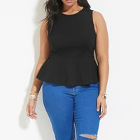 Plus Size Laddered Peplum Top