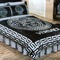 Versace Bedding Set Bedroom Duvet Cover Sheet Pillowcases Satin Black Silver