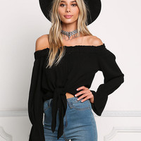 Black Gauze Ruched Off Shoulder Tie Front Blouse