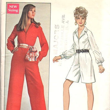 Butterick 5324 Sewing Pattern 60s 70s Retro Style Jumpsuit Disco Pantsuit One Piece Jumper Zipper Front Bust 36