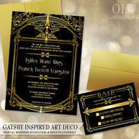 Gatsby Art Deco Wedding Invitation and RSVP card - Digital Files - Gold and Black Architectural