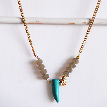 Turquoise spike and good luck clover URBANA necklace