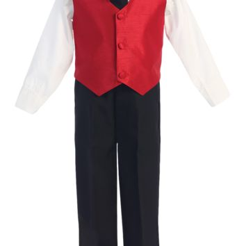 Red Poly Silk Vest & Black Pants 4 Pc Outfit (Baby 6 months - Little Boys Sz 7)
