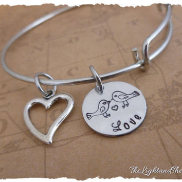 Love Bangle Charm Bracelet - Hand stamped jewelry - Gift for her - Romance - Love - Wedding - Couples - Relationship