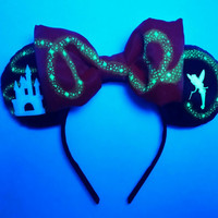 Glow in the Dark Tinkerbell Castle Mouse Ears, Tink Disney ears, Tinkerbell headband, Personalized Disney Ears, Mickey ears, Minnie Ears