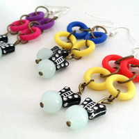 Colorful Butterfly Dangle Earrings, Handmade Flirty Colorful Earrings, Yellow Blue Red and Pink Link