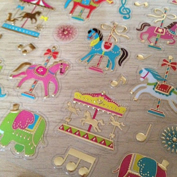 Merry go round Fancy cartoon sticker Playground carousel circus princess fairy tale castle golden horse pink elephant Music Notation gift
