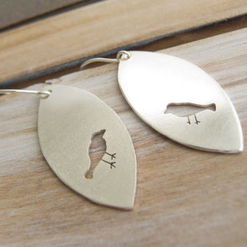 Bird Earrings, Silver Bird Earrings, Bird Jewelry, Long Dangle Earrings, Bird Lover,  Bird Watcher Gift, Unique Jewelry, Sundance Style