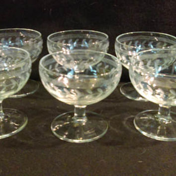 Hand Etched Sherbet Glasses, Champagne Coups, Vintage Sherbet Glasses, Stemware Set of 6  (1258)
