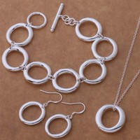 ON SALE - Forever Sterling Silver O Necklace, Earrings and Bracelet Set