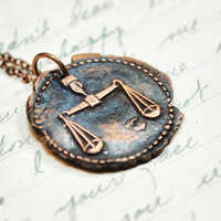 Justice Libra Pendant Zodiac Antique Wax Seal by PiecesOfII