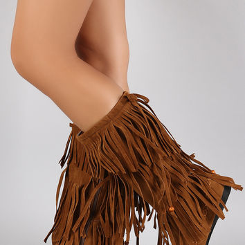 Bow Bead Tiers of Fringe Moccasin Flat Boots
