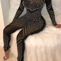 Black Patchwork Rhinestone Sparkly Zipper Bodycon Clebwear Party Long Jumpsuit