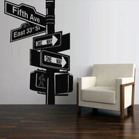 Wall Decal Mural Sticker Decor Art Bedroom Road Sign New York Broadway (z2749)