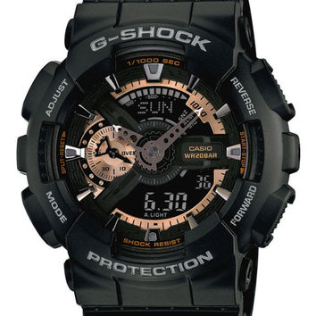 Casio  Men's Ana-Digi Rose Gold Accent  Black G Shock Watch Water Proof Heavy Protection