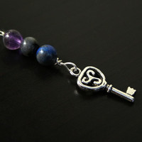 Triple gem Maiden-Mother-Crone key Blessingway bead - Amethyst, lapis lazuli, labradorite - Blessing bead, baby shower gift, doula gift