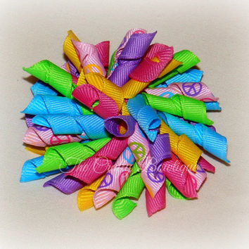 Colorful Peace Sign Bow ~ Peace Sign Bow ~ Bright & Colorful Bow ~ Peace Hair Bow ~ Peace Korker Bow ~ Large Peace Bow ~ Korker Pigtails