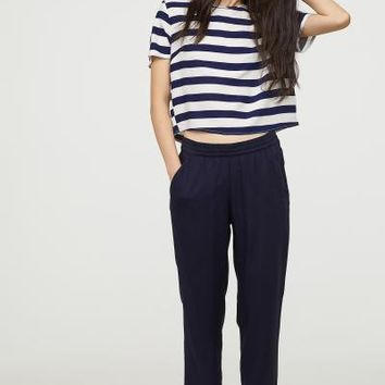 Elasticized Viscose Pants - Dark blue - Ladies | H&M US