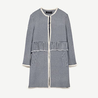 GINGHAM CHECK COAT WITH FRILL DETAILS
