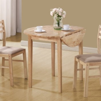 "Natural 3Pcs Dining Set with a 36""Dia Drop Leaf Table"