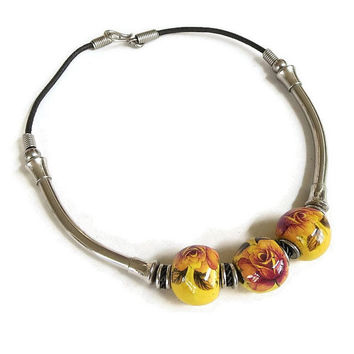 Vintage Ethnic Style Floral Choker Necklace with Large Yellow & Red Ceramic and Metal Beads