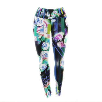 "Dawid Roc ""Cool Roses-Floral Stripes "" Blue Green Yoga Leggings"