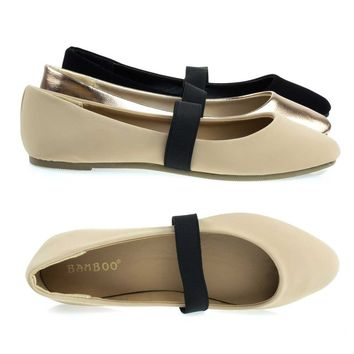 Master03 Nude Beige By Bamboo, Almond Toe Ballet Ballerina Flats W Elastic Mary-Jane Strap