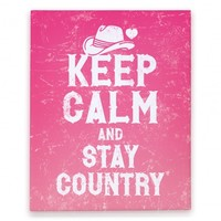 Keep Calm And Stay Country (Pink) Canvas Print