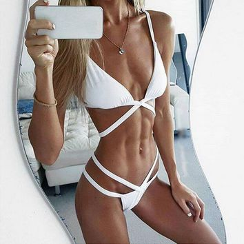 Cross Straps Triangle Plain Color Bikini Set