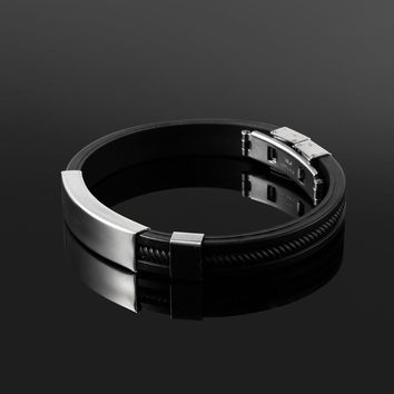 2018 New Fashion Wristband black Punk Rubber Silicone Stainless Steel Men Bracelets Bangles pulseras hombre caucho