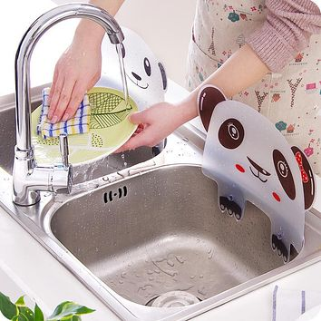 Vanzlife Cute Panda sink water splash proof water pool baffle kitchen gadget plate with suckers water retaining plate