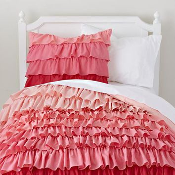 The Land of Nod | Girls Bedding: Pink Ombre Ruffled Bedding Set in Duvet Covers