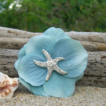 Starfish Hair Clip-AQUA TIFFANY BLUE-Starfish, Beach Wedding, Mermaid Hair Clip, Starfish Accessories, Bridesmaid Hair, Destination Wedding