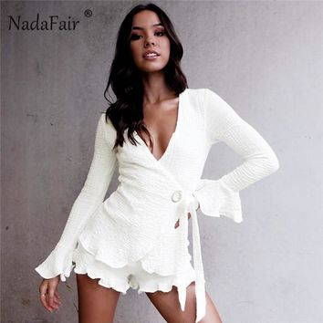Nadafair v neck flare sleeve jumpsuits women bow tie-up ruffles sexy mini playsuits autumn winter long sleeve rompers women