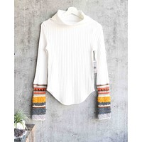 free people - mixed up cuff thermal sweater top - ivory