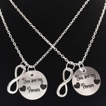 You Are My Person You're Best Friend Infinity BFF Sisters Gift Necklace Set