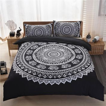Cilected Bohemia Style Black White Printing Duvet Cover Set(bed cover+pillow case) Bedding Sets Queen Size Mandala Bedspread