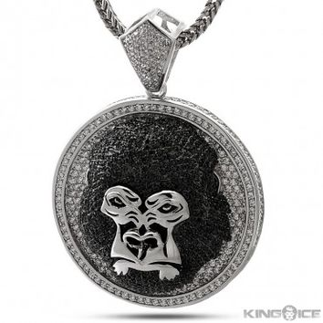 King Ice Silver Plated Gorilla Medallion Pendant