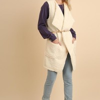 Cream Wubby Belted Sweater Vest