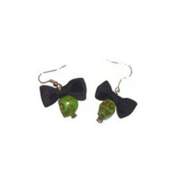 Girly Green Skull with Black Bow Rockabilly Kitsch Halloween Dangle Earrings