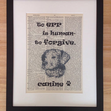 Dog Lover Gift, Dog Print, Pet Lover Gifts, Dog Art Print, Dog Picture, Dictionary Print, Gift For Her, Gift For Him, Birthday Gift, Ooak