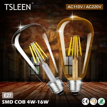 Big Promotion Retro LED Filament Light lamp E27 4W 8W 12W 16W 110V 220V ST64 Clear Glass shell vintage edison led bulb